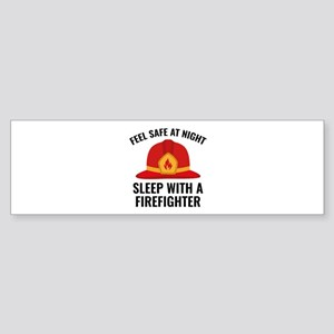 Sleep With A Firefighter Sticker (Bumper)