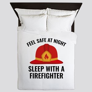 Sleep With A Firefighter Queen Duvet