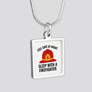 Sleep With A Firefighter Silver Square Necklace