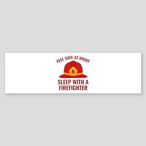 Sleep With A Firefighter Sticker (Bumper)