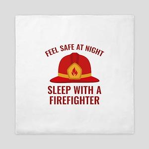 Sleep With A Firefighter Queen Duvet