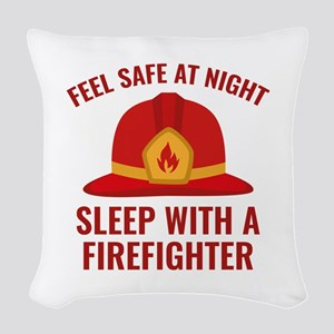 Sleep With A Firefighter Woven Throw Pillow