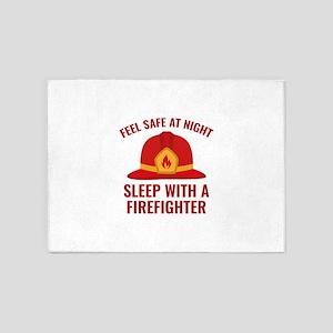 Sleep With A Firefighter 5'x7'Area Rug