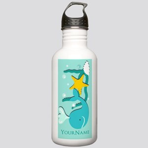 Cute Aqua Whale Beach Stainless Water Bottle 1.0L