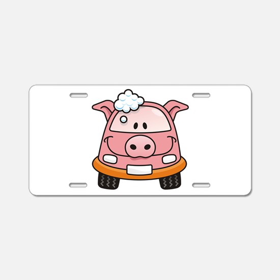 Pig car with bubbles Aluminum License Plate
