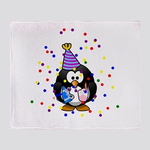Party Penguin Confetti Throw Blanket