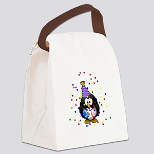 Party Penguin Confetti Canvas Lunch Bag