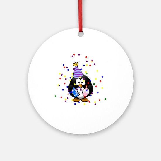 Party Penguin Confetti Ornament (Round)