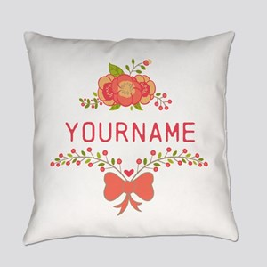 Personalized Name Cute Floral Everyday Pillow