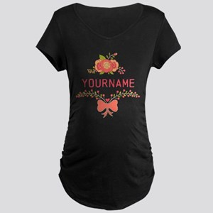Personalized Name Cute Flor Maternity Dark T-Shirt