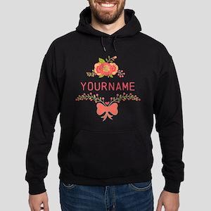 Personalized Name Cute Floral Hoodie (dark)