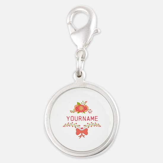 Personalized Name Cute Floral Silver Round Charm