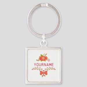 Personalized Name Cute Floral Square Keychain