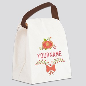 Personalized Name Cute Floral Canvas Lunch Bag