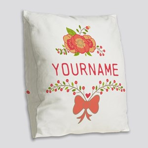 Personalized Name Cute Floral Burlap Throw Pillow