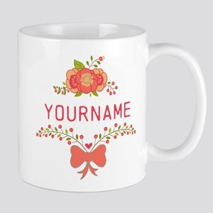 Personalized Name Cute Floral Mug
