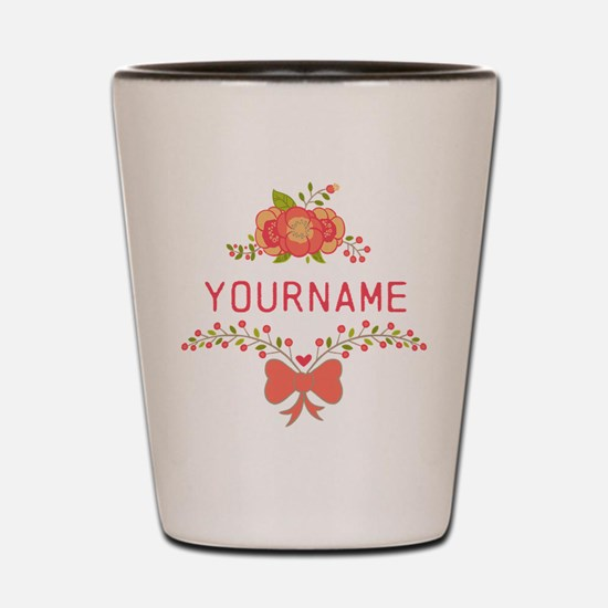 Personalized Name Cute Floral Shot Glass