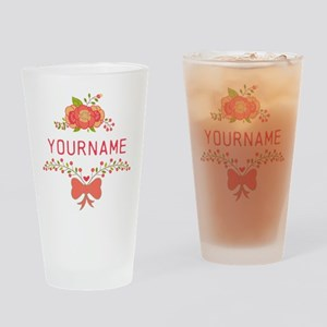 Personalized Name Cute Floral Drinking Glass