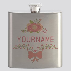 Personalized Name Cute Floral Flask