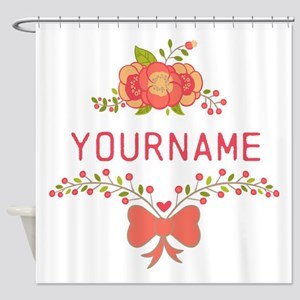 Personalized Name Cute Floral Shower Curtain