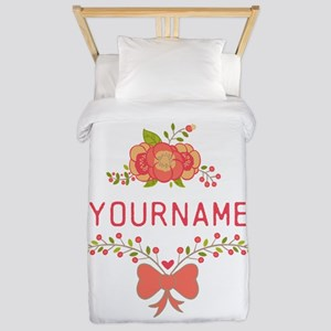 Personalized Name Cute Floral Twin Duvet