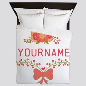 Personalized Name Cute Floral Queen Duvet
