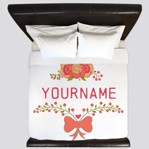 Personalized Name Cute Floral King Duvet