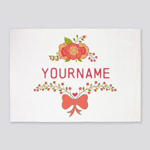 Personalized Name Cute Floral 5'x7'Area Rug