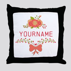 Personalized Name Cute Floral Throw Pillow