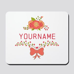 Personalized Name Cute Floral Mousepad