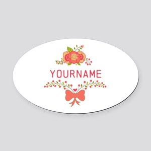 Personalized Name Cute Floral Oval Car Magnet