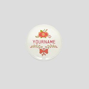 Personalized Name Cute Floral Mini Button