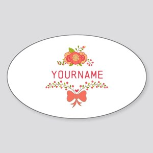 Personalized Name Cute Floral Sticker (Oval)