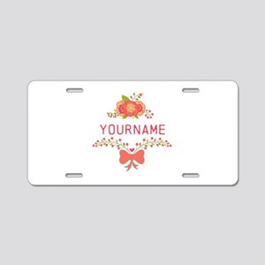 Personalized Name Cute Flor Aluminum License Plate