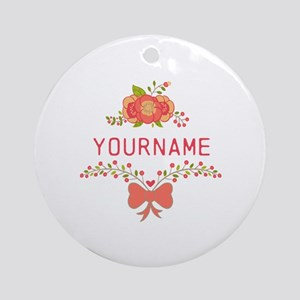 Personalized Name Cute Floral Ornament (Round)