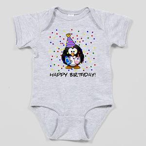 Happy Birthday Penguin Baby Bodysuit