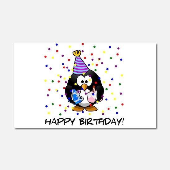 Happy Birthday Penguin Car Magnet 20 x 12