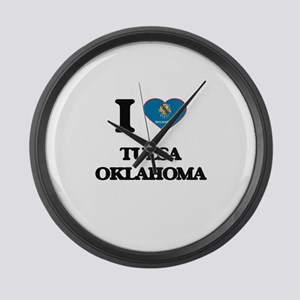 I love Tulsa Oklahoma Large Wall Clock