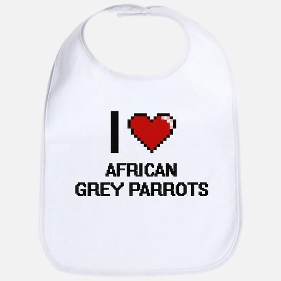 I love African Grey Parrots Digital Design Bib