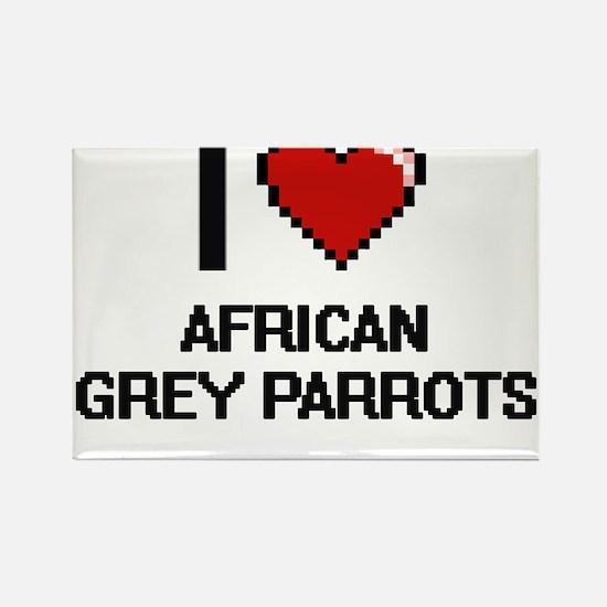 I love African Grey Parrots Digital Design Magnets