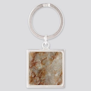 Realistic Brown Faux Marble Stone Patter Keychains