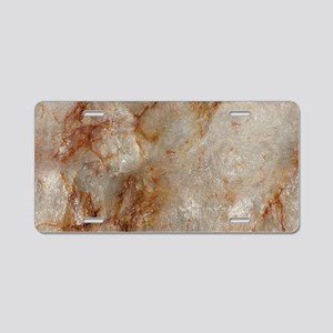 Realistic Brown Faux Marble Aluminum License Plate