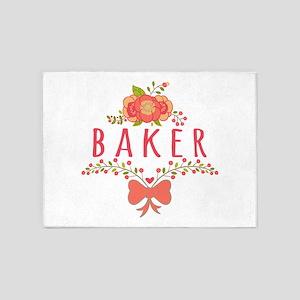 Cute Floral Occupation Baker 5'x7'Area Rug