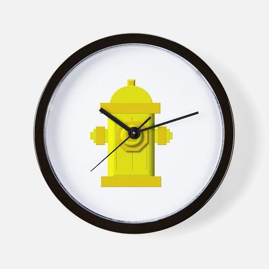 Yellow fire hydrant Wall Clock