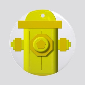Yellow fire hydrant Ornament (Round)