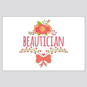 Cute Floral Occupation Beautician Large Poster