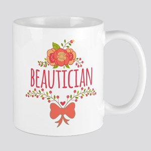 Cute Floral Occupation Beautician Mug