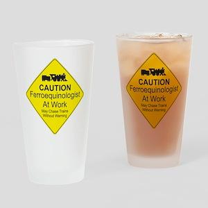 Ferroequinologist Warning Drinking Glass