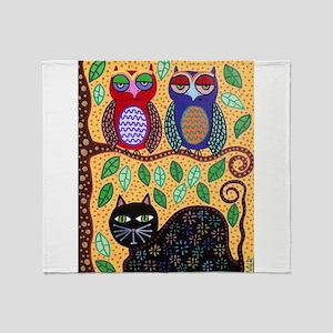 Autumn owls Throw Blanket