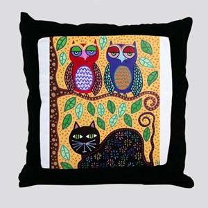 Autumn owls Throw Pillow